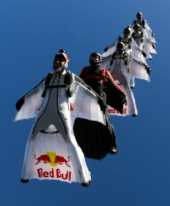 Red Bull Air Force - people in wing suits flying in formation